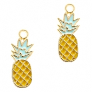 Basic Quality metal charms pineapple Gold-Yellow Light Blue