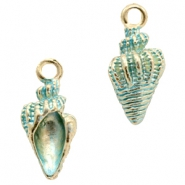 Basic Quality metal charms shell Gold-Turquoise Blue