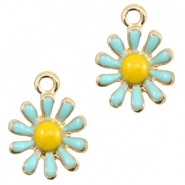 Basic Quality metal charms daisy Gold-Light Blue