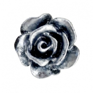 Rose beads 10mm Black-Silver Coating