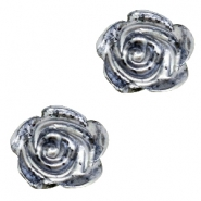 Rose beads 6mm Black-Silver Coating