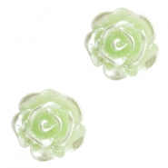 Rose beads 6mm Celery Ice Green-Silver Coating