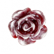 Rose beads 10mm Deep Red-Silver Coating