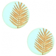 Wooden cabochon fern 12mm Turquoise