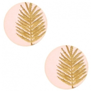 Wooden cabochon fern 12mm Light Pink