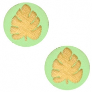 Wooden cabochon leaf 12mm Lizard Green
