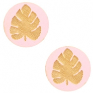 Wooden cabochon leaf 12mm Dark Pink