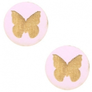 Wooden cabochon butterfly 12mm Light Lavender Purple