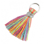 Tassels 1.8cm Silver-Multi Colour Red Purple
