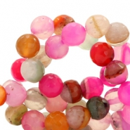 8mm round agate semi-precious stones faceted cut Multicolor fuchsia-pink opal