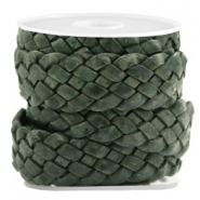 DQ leather flat 20 mm braided Vintage Dark Green