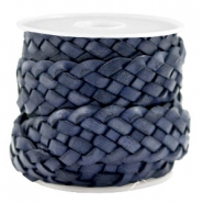 DQ leather flat 20 mm braided Dark Blue