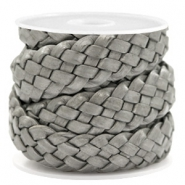 DQ leather flat 20 mm braided Grey Metallic