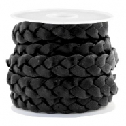 Flat  braided 10 mm DQ leather Black