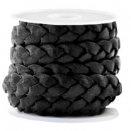 Flat  braided 10 mm DQ leather Vintage Black