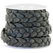 Flat  braided 10 mm DQ leather Vintage Dark Green