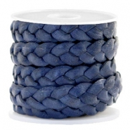 Flat  braided 10 mm DQ leather Dark Blue