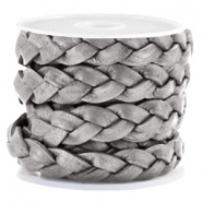 Flat  braided 10 mm DQ leather Grey Metallic
