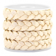 Flat  braided 10 mm DQ leather Champagne Gold Metallic