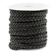 Benefit package Flat braided 5 mm DQ leather Black