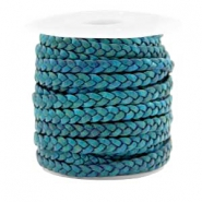 Benefit package Flat braided 5 mm DQ leather Teal Green