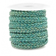 Benefit package Flat braided 5 mm DQ leather Vintage Dark Turquoise Green