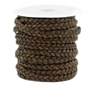 Benefit package Flat braided 5 mm DQ leather Dark Chocolate Brown