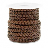 Benefit package Flat braided 5 mm DQ leather Mauve Brown