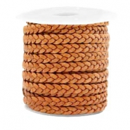 Benefit package Flat braided 5 mm DQ leather Vintage Copper Brown