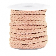 Benefit package Flat braided 5 mm DQ leather Vintage Rose Metallic