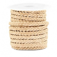 Benefit package Flat braided 5 mm DQ leather Champagne Gold Metallic