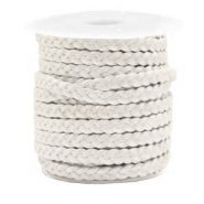 Benefit package Flat braided 5 mm DQ leather Silver White Metallic
