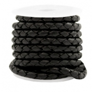 DQ round braided leather 4 strings 4mm Vintage Black