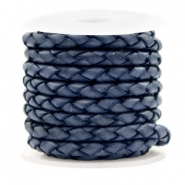 DQ round braided leather 4 strings 4mm Dark Blue