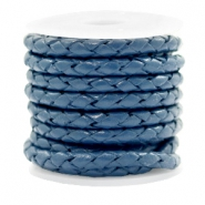 DQ round braided leather 4 strings 4mm Navy Blue
