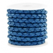 DQ round braided leather 4 strings 4mm Antique Blue