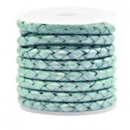 DQ round braided leather 4 strings 4mm Pastel Lark Green Metallic