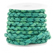 DQ round braided leather 4 strings 4mm Antique Turquoise Green