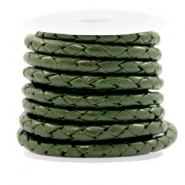 DQ round braided leather 4 strings 4mm Army Green Metallic