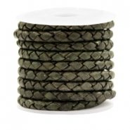 DQ round braided leather 4 strings 4mm Vintage Dark Green