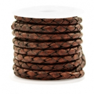 DQ round braided leather 4 strings 4mm Mauve Brown