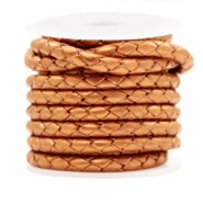 DQ round braided leather 4 strings 4mm Copper Gold Metallic