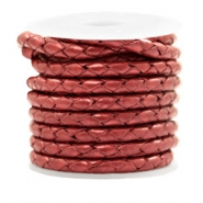 DQ round braided leather 4 strings 4mm Moroccan Red Metallic