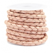 DQ round braided leather 4 strings 4mm Vintage Rose Metallic