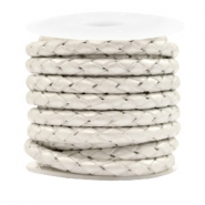 DQ round braided leather 4 strings 4mm Silver White