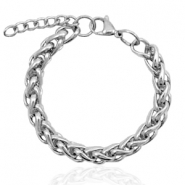 Stainless steel bracelets link round Silver