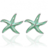 Trendy earrings studs seastar Turquoise