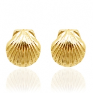 Trendy earrings studs shell Gold