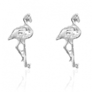 Trendy earrings studs flamingo Silver