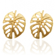 Trendy earrings studs leaf Gold